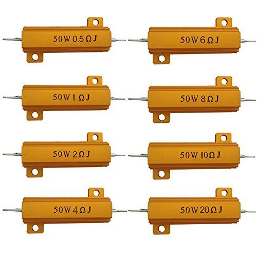 Davitu 50W Watt Shell Power Aluminum Housed Case Wirewound Resistor New 0.5 1 2 4 6 8 10 Ohm - (Color Name: 6R)
