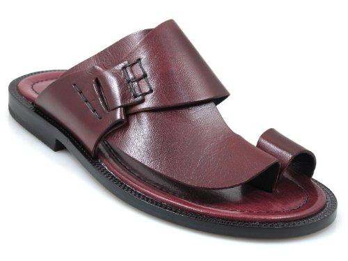 Mens Davinci Italienska Lädertryck Sandaletter 1099 Bordeau