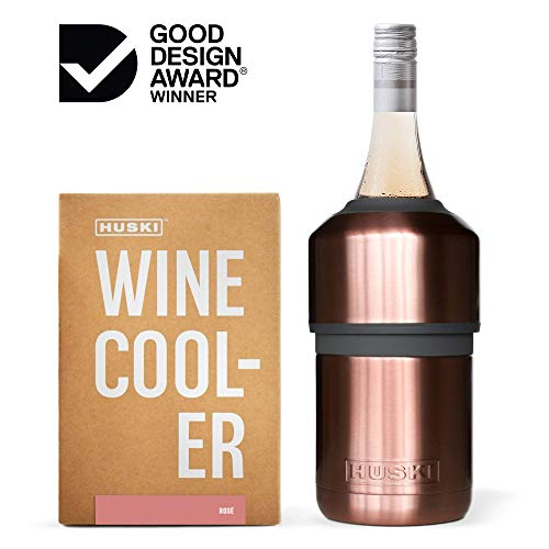 Huski Wine Cooler | Premium Iceless Wine Chiller | Keeps Wine or Champagne Bottle Cold up to 6 Hours | Award Winning Design | New Wine Accessory | Perfect Gift for Wine Lovers (Rosé) (Renewed)