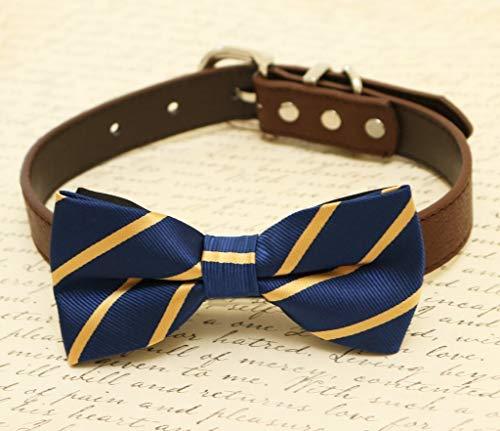 Navy Dog bow tie collar, dog collar, Navy dog collar, Cat bow tie collar, dog of honor, leather, -