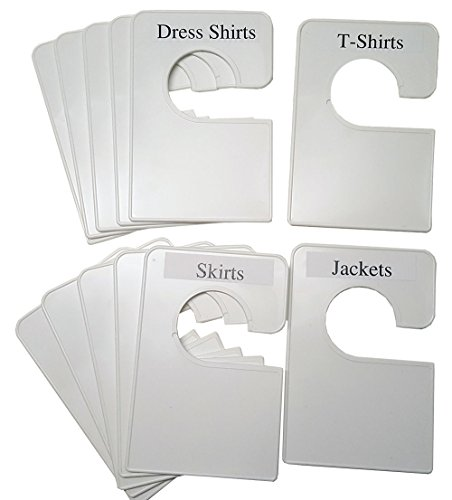 12 Blank White Clothing Dividers Plus 48 Labels 5.25x3.5 Inches (Regular) -