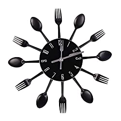 Wall Clock Doremy Kitchen Cutlery Clock Stainless 3D Removable Knife Spoon Fork DIY Watch Wall Mount Modern Design Home Decoration (Black)