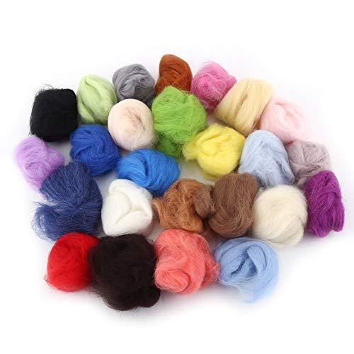 25 Colors Soft Wool Felt Fiber + Felting Needle Tool Set Mat Starter DIY Kit Craft Handwork Doll Crafts Home Sewing Tools