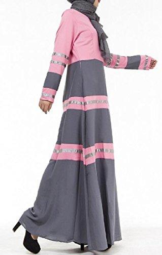 Girocollo Cuciture donne Manica Abaya Veste Lunga Musulmani Rosa Coolred RF6Uyq0U