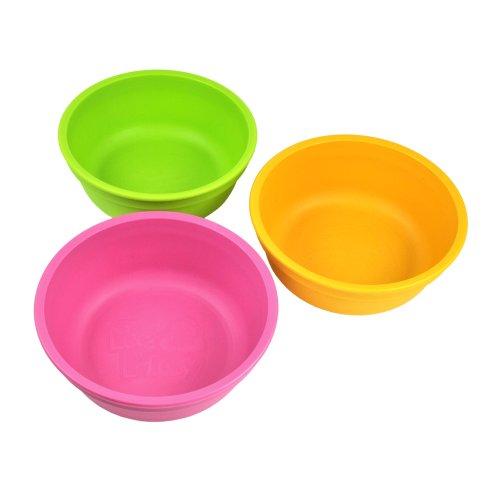 Re-Play, Kinderschüssel Set, 3 Stück   BPA-frei   nachhaltig durch Recyclingmaterial   Hergestellt in den USA (Pink)