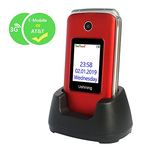 Ushining 3G Unlocked Flip Cell Phone for Senior & Kids,Easy-to-Use Big Button Cell Phone with Charging Dock (Red) (Flip Cellular Phone)