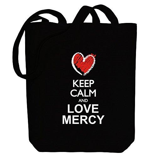 Idakoos Keep calm and love Mercy chalk style Bereich für Taschen IbYqtS
