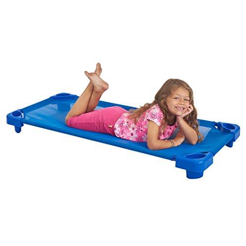 ECR4Kids Children's Naptime Cot, Stackable Daycare Sleeping Cot for Kids, 52'' L x 23'' W, Assembled, Blue (Set of 5) by ECR4Kids (Image #3)