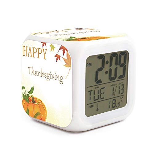 TEKEN Fashion Happy Thanksgiving Day Pumpkin Maple Leaf 7 LED Color Change Digital Thermometer Alarm Clock with LCD Display Cube Night Light for Kids