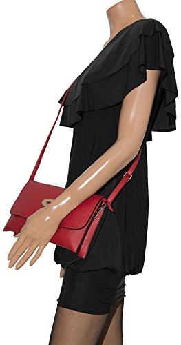 BHBS Bolso de Mano para Dama con cierre tipo Cartero en Imitación Piel 28x16x2 cm (LxAxP) Negro (KL168)
