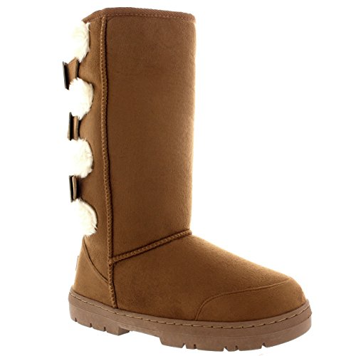Buckle Shoe Long Calf Mid Light Boots Womens Tan Snow Winter Waterproof tTI5q5wR