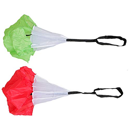SM SunniMix Pack of 2pcs Adjustable Drag Chute Running Speed Training Parachute for Running Football Soccer Resistance Power Coordination Train - Red + Green