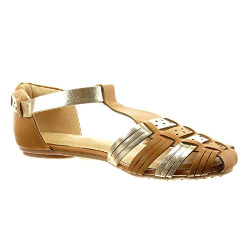 Sopily - Zapatillas de Moda Sandalias gladiator correa Tobillo mujer tanga brillantes Talón Tacón ancho 1 CM - Camel
