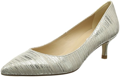 L.K. Bennett Women's Audrey Soft Gold Striped Metallic Lizard 39 M EU - Lizard Gold Metallic