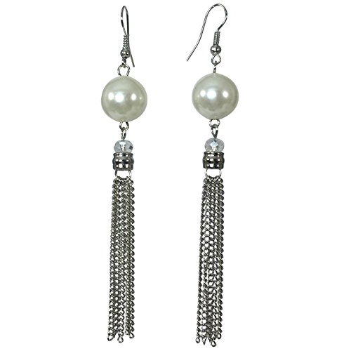 Long Trendy Chain Link Tassel With Bead Dangle Boutique Style Earrings (Imitation Pearl Silver Tone)