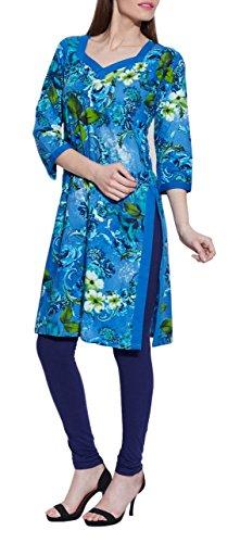 Manches longues à encolure en V bleu robe de coton imprimé - unique mode féminine