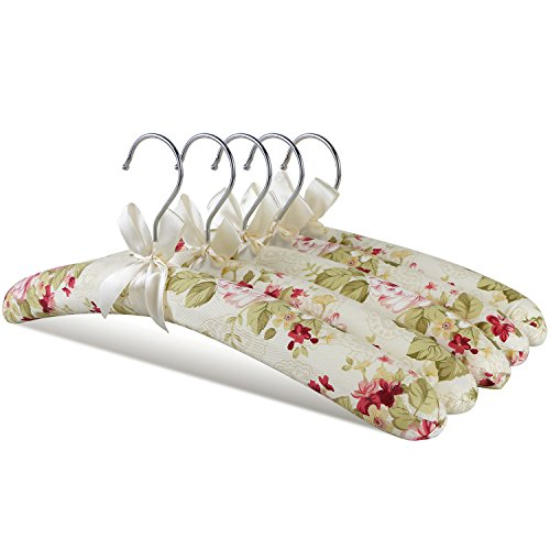 GLCON H-128 flowery Padded Hangers, Print Pastel Natural Canvas/Satin Anti Slip Bone Hangers, Strong Bow Wood Floral Clothes Hangers for Closet Coat Sweaters Skirt Suit Wedding Dress Gown Blouse Shirt