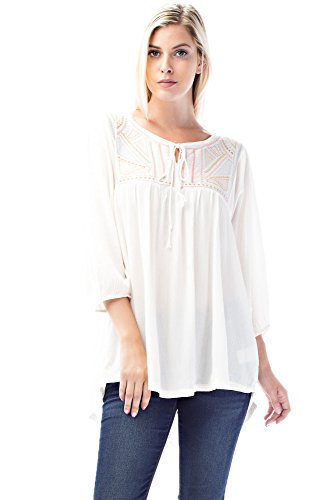 Allora Betsy Red Couture Women's and Plus Size Embroidered Tunic Top (1X, P207G-IVORY) (Button Jersey Down Embroidered)