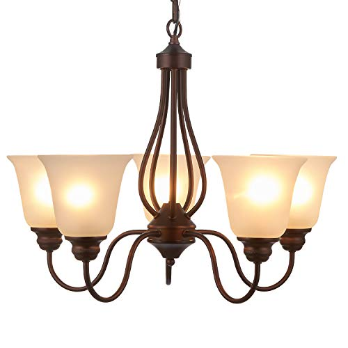 Doraimi 3 5 Light Chandelier Lighting, Brown Finish with Opal Glass Shade Brown,5 lgiht