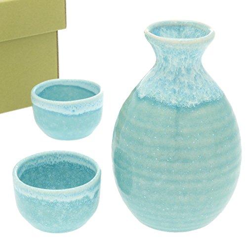 Kotobuki Sake Set Light Blue with White Drip