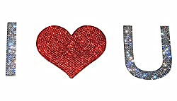 Car Bumper Rhinestone I Love u Sticker