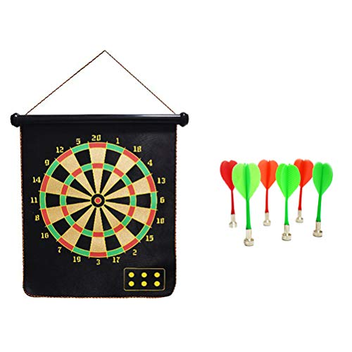 NUOBESTY Magnetic Dart Board Flocking Double-sided Target Safety Dart Board-Games Outdoor Indoor Plastic Dart Flocking Dart Target Board Games Set (15-Inch Dart With 6 Darts) ()