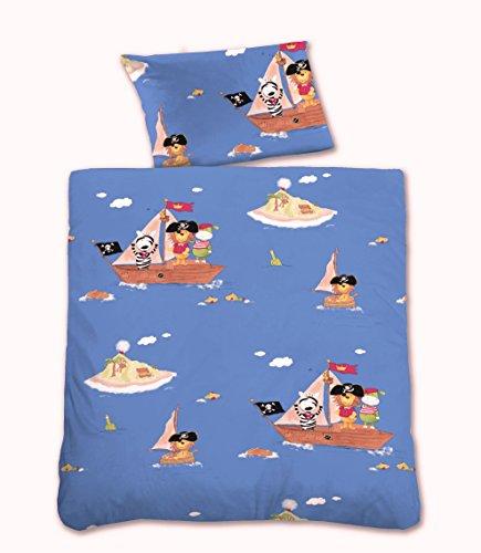 CASTELL Baby-Bettwäsche aus Linon Tierpiraten auf Segelboot, blau 100x135 + 40x60 cm