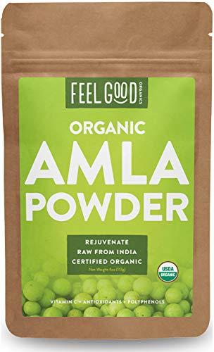 Organic Amla Powder (Amalaki) - 4oz Resealable Bag - 100% Raw From India - by Feel Good Organics