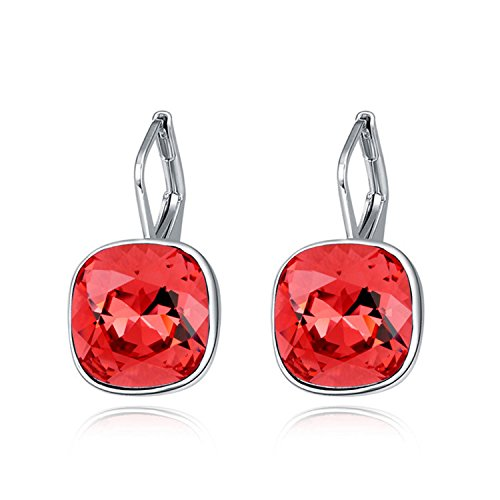 (Ablaze Jin Crystal Earrings Smoke Cold Water High End Earring,Water Lotus Red)
