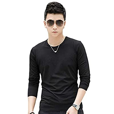 Big Promotion! Teresamoon Fashion Men Slim Fit Cotton Crew Neck Long Sleeve Casual T-Shirt Tops