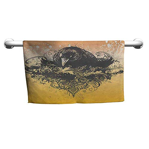 Abeocg Black Bouncy Towel Halloween Theme Vector Illustration of a Wicked Crow and Ornate Flowers Print Colorful Towels Black and Mustard W20 xL39]()