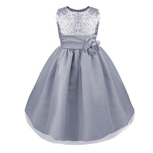 YiZYiF Kids Girls Sequined Wedding Dress Bridesmaid Formal Christmas Party Gown Silver 5-6