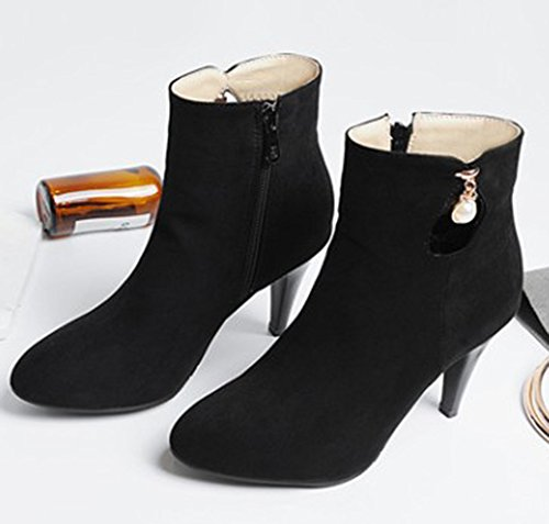 Zipper Stylish Kitten Faux Booties Black Suede Women's Short Aisun Heels ApwqH5IxUn