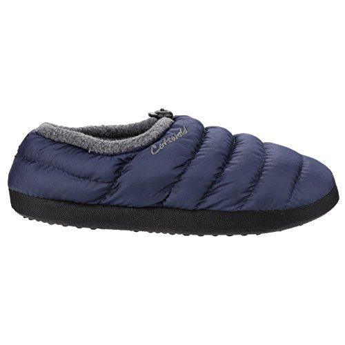 Cotswold Womens/Ladies Soft Faux Fur Collar Padded Camping Slippers Marineblau