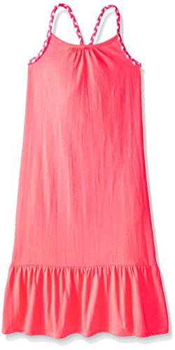 Girls Dress Straps (Pink House Big Girls' Maxi Dress with Self Braid Strap, Neon Coral, Medium 10/12)