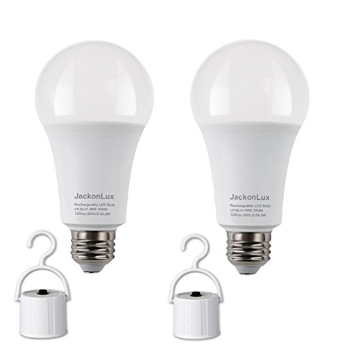 - Rechargeable Emergency LED Bulb JackonLux Multi-Function Battery Backup Emergency Light For Power Outage Camping Outdoor Activity Hurricane 9W 850LM 60W Equivalent Soft White 3000K E26 120 Volt 2 Pack