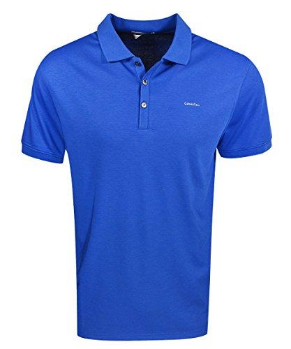 Calvin Klein Men's Liquid Cotton Short Sleeve Solid Polo, Limoges, - Mens Cotton Liquid