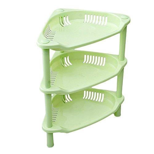 lecent @ 3capa de plástico estante de baldas de almacenamiento de plástico cesta estantería de esquina para organizador...