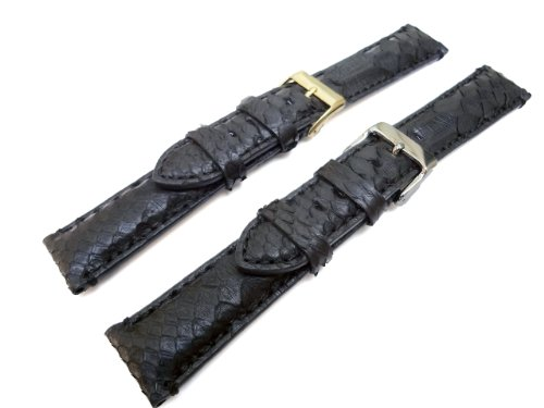 Genuine Python Skin Black 22mm Watch Band Gold Plated Buckle