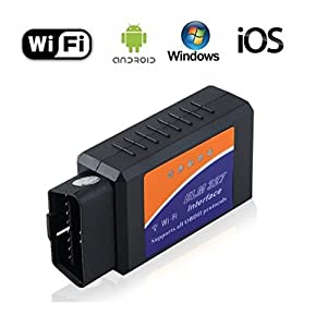 Car OBD 2 OBD2 Scanner ELM327 WIFI Vehicle Fault Code Reader OBDII Adapter Auto Check Engine Light Clear Wireless Diagnostic Scan Tool for iPhone IOS Android Windows Apple for Cars
