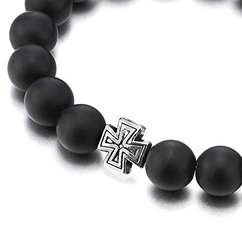 Homme Femme Bracelet de Noir Onyx Perles avce Vintage Croix Charm, Prayer Mala, Extensible