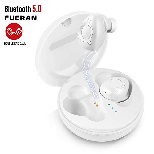 Wireless Earbuds, 15H Long Playtime Wireless Bluetooth Earbuds True Bluetooth 5.0 earbuds 3D Stereo Sound Wireless Headphones, Built-in Miuilt-in Microphone, Support Both Ears Simultaneous Call -White