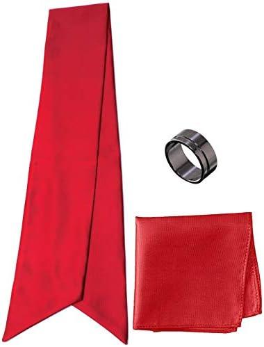 アスコットタイ・ポケットチーフ・タイリング マイクロポリ採用 チーフ メンズ タイリング:No.7 チーフ/タイ(タイプ/カラー):Red-A