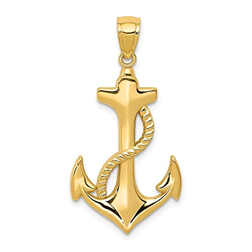 14k Yellow Gold Polished Anchor with Rope Pendant, 17 x 32mm ()