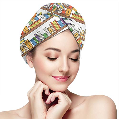 Hair Drying Hat Towel Wrap Turban Dry Hair Cap for Bath Spa Soft Towel Reduce Hair Drying Time Modern Library Bookshelf With A Ladder