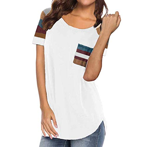 Sunmoot Clearance Sale Womens Tops and Blouse Fashion Striped Print Patchwork Short Sleeve T Shirt Summer Casual Loose Color Block Long Sleeve Elegant Work Tunic