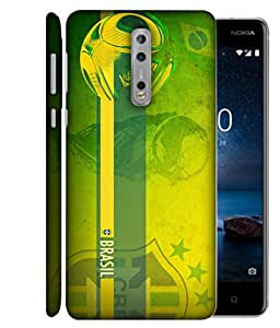 ColorKing Football Brazil 18 Green shell case cover for Nokia 8