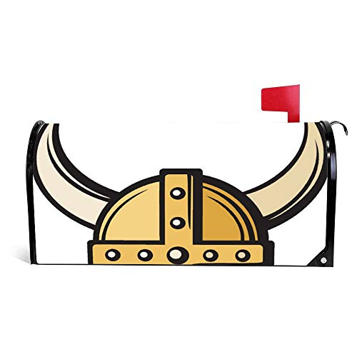 Viking Helmet Magnetic Mailbox Cover Wraps Post Box Canvas Garden Yard Home Decor for Outside -22.6x18.7 inch