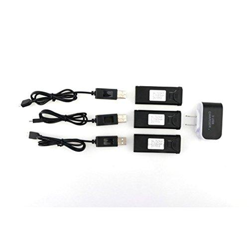 DZT1968 3pc 3.7V 900mAh 30C Lipo Battery Accessory for TIANQU VISUO XS809W XS809S XS809HW+USB Cable1+US - Lens 30c