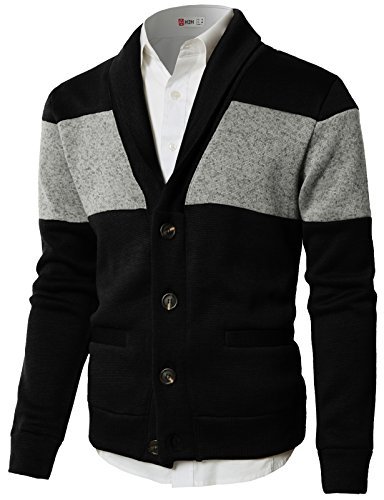 H2H Mens Casual Regular Fit Knitted Basic Designed V-Neck Long Sleeve Cardigan BLACKGRAY US M/Asia L (CMOCAL010) -
